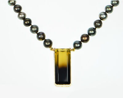 Michael Baksa, 'Bi-Color Lemon Citrine Necklace with Baroque Tahitian Pearls', 2019