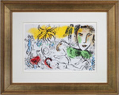 Marc Chagall, '20th C XXE Siecle, M699 (Self-Portrait w/Sun Over Village)', 1973