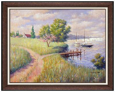 Arthur Sarnoff, 'Arthur Sarnoff Oil Painting On Canvas Sailboats Seascape Signed Illustration Art', 20th Century