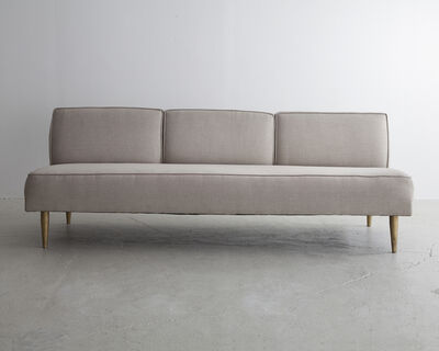Greta Magnusson Grossman, 'Three-seat sofa in white upholstery with tapered brass legs', ca. 1952