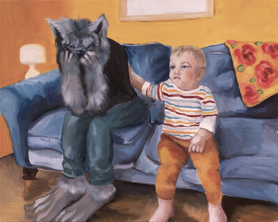 Lindsey Mendick, 'Wolfie and Felix Watching Telly', 2021