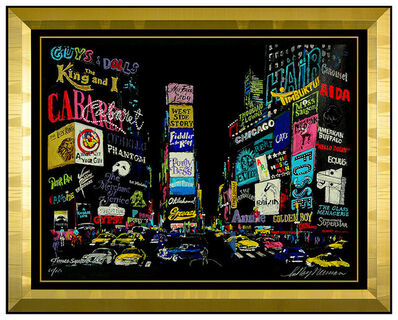 LeRoy Neiman, 'LeRoy Neiman Lights Of Broadway Serigraph Hand Signed Large New York Cityscape', 2001
