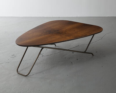 Greta Magnusson Grossman, 'Wood coffee table with California walnut veneer and a sculptural brass base', 1952