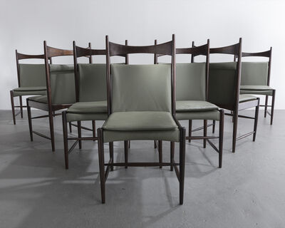 """Sergio Rodrigues, 'Set of seven high back """"Cantu"""" chairs in jacaranda with leather seats', ca. 1959"""