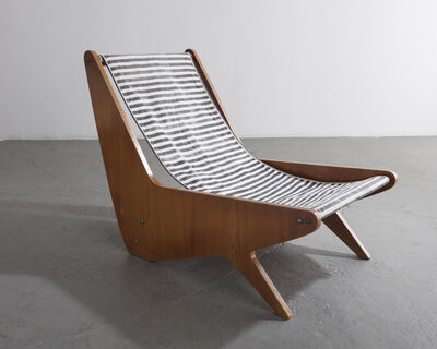 José Zanine Caldas, 'Early plywood lounge chair with black and white striped slung canvas seat ', 1950-1959