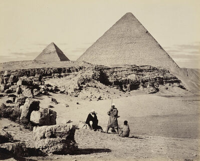 Francis Bedford, 'Pyramids of Cheops and Cephrenes [The Great Pyramid and the Pyramid of Khafre, Giza]', 5 Mar 1862