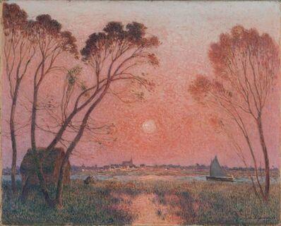 Ferdinand du Puigaudeau, 'Barque sur la Brière au crépuscule', 1928