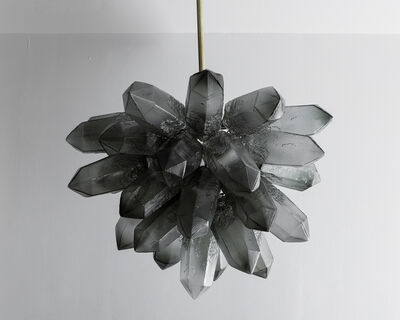 Jeff Zimmerman, 'Illuminated Crystal Cluster sculpture in gray hand-blown glass', 2015