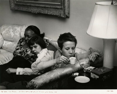 "Ruth Orkin, 'Ethel Waters, Carson McCullers and Julie Harris at opening night party for ""Member of a Wedding""', 1950"