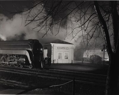 O. Winston Link, 'Meet of the N&W No. and B&O No. 7, Shenandoah Junction, West Virginia, January 28, 1957', 1957