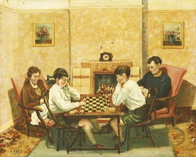 A... Bruce, 'A FAMILY IN AN INTERIOR WITH TWO BOYS PLAYING CHESS'