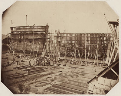 Félix-Jacques Moulin, 'Building the forms for the Arrival Basin at the Port of Cherbourg', 1857, 58/1857, 58