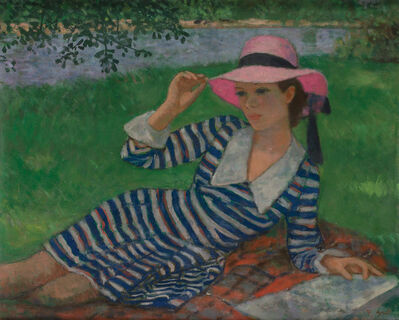 Francois Gall, 'Girl with Pink Hat and Striped Dress'