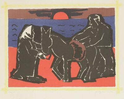 Josef Herman RA, 'The Red Sun', 1975
