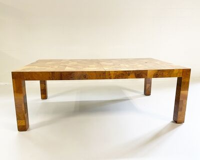 Paul Evans (1931-1987), 'Cityscape Patchwork Burl Wood Dining Table', 1970s