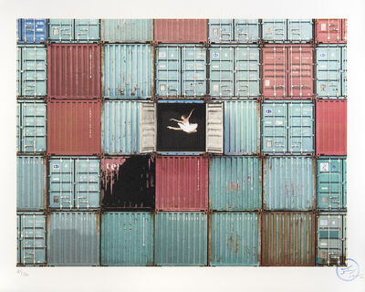 JR, 'The Ballerina Jumping In Containers, Le Harce, France, 2014'', 2018