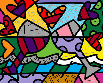 Romero Britto, 'Toast To Love Glasses', 2019