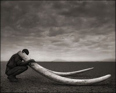 Nick Brandt, 'Ranger with Tusks of Killed Elephant, Amboseli 2011', 2011