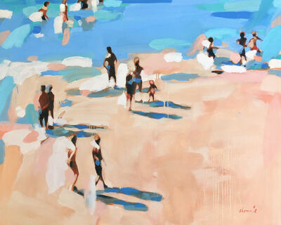 "Elizabeth Lennie, '""Beachlife 30"" Abstract oil painting of figures on the beach by the blue shore', 2018"