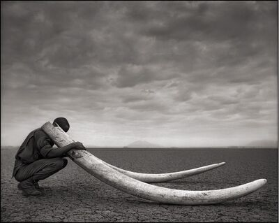 Nick Brandt, 'Ranger with Tusks of Killed Elephant, Amboseli', 2011