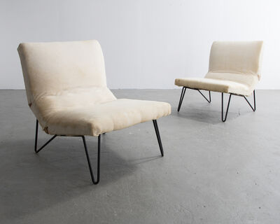 Greta Magnusson Grossman, 'Pair of Iron and Upholstered Lounge Chairs', 1950s