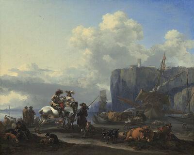 Nicolaes Pietersz Berchem, 'View of an Italian Port', early 1660s