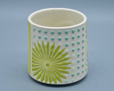 Kelly Justice, '7.Cup with Teal and Chartreuse Flowers', 2021