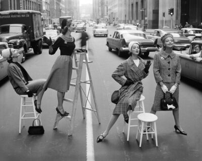 William Helburn, 'Stopping Traffic: Joanna McCormick, Janet Randy, Betsy Pickering, and Gretchen Harris, Park Avenue South, Charm', ca. 1958
