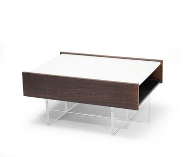 John Scott, 'A John Scott custom designed Lucite, walnut, and white marble end table'