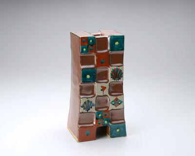 Tomoo Hamada, 'Cube vase, kaki glaze with akae decoration', 2015