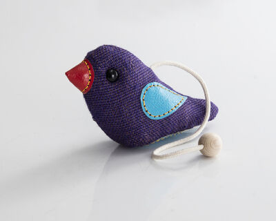 "Renate Müller, '""Therapeutic Toy"" Bird in purple jute with blue and red leather detailing. Designed and made by Renate Müller, Germany, 2016.', 2016"