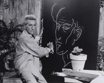 Lucien Clergue, 'Jean Cocteau (Le Poete) et son Autoportrait, Studios de la Victorin'