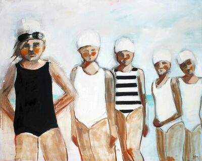"Debbie Miller, '""Line Up"" oil painting of five girls in black and white swimsuits lined up', 2010-2018"