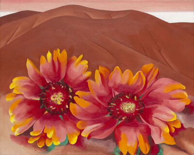 Georgia O'Keeffe, 'Red Hills with Flowers', 1937