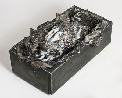 Elizabeth Jordan, 'Rabbit Sculpture with tin cans in wood box: 'What Makes A God Weep'', 2016