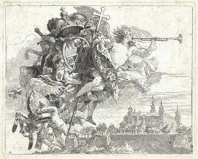 Giovanni Domenico Tiepolo, 'Fuga in Egito, Frontespizio: Le Armi di Carlo Filippo', circa 1753