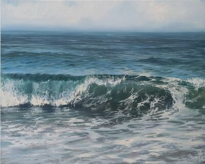 """Annie Wildey, '""""Glistening Roller"""" Oil painting of cresting wave in dark blue and green with paint splatters', 2010-2018"""