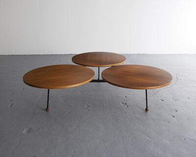 Greta Magnusson Grossman, 'Coffee table with three circular tops in teak on an iron frame', 1954
