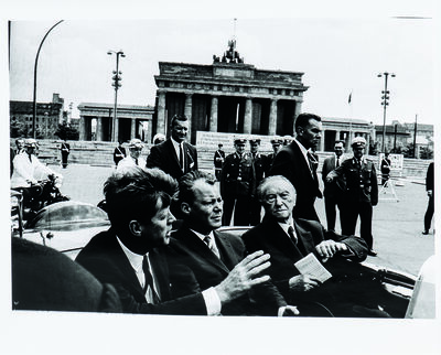 Will McBride, 'John F. Kennedy, Willy Brandt, Konrad Adenauer after visiting the Wall at the Brandenburg Gate, Berlin', 1963