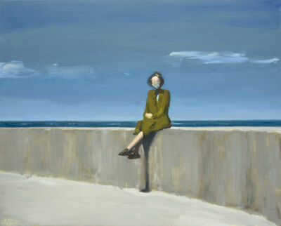 David Storey, 'Woman Sitting on a Sea Wall'