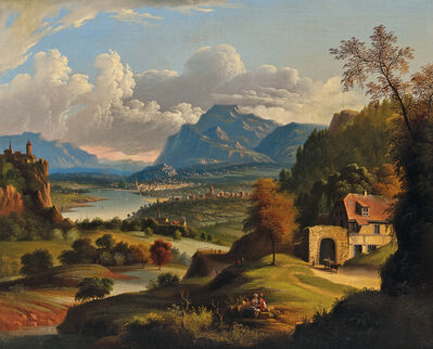 Attributed to Michele Felice Cornè, 'Idyllic Landscape with Lake, Castle, and Distant Town'