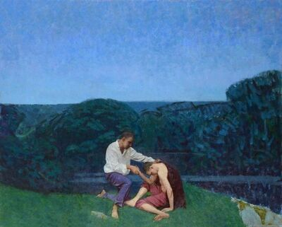 Colin Watson, 'Landscape with two figures by a lake', ca. 2019