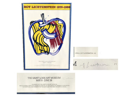 "Roy Lichtenstein, '""Roy Lichtenstein 1970-1980"", SIGNED Exhibition Poster, Saint Louis Art Museum Screen Print Apple Poster', 1981"