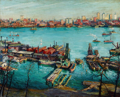 Max Kuehne, 'New York Harbor', ca. 1920–30