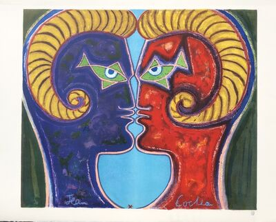 Jean Cocteau, '2 Profiles Face to Face', ca. 1960