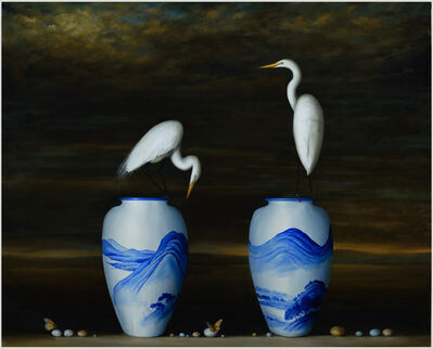 David Kroll, 'Two Vases and Egrets', 2015