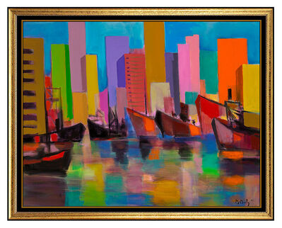 Marcel Mouly, 'Marcel Mouly Large Original Harbor Painting Acrylic On Canvas Signed Boats Rare', 2004