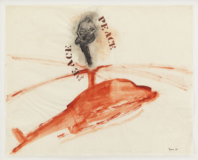 Nancy Spero, 'P.E.A.C.E., Helicopter, Mother + Children', 1968