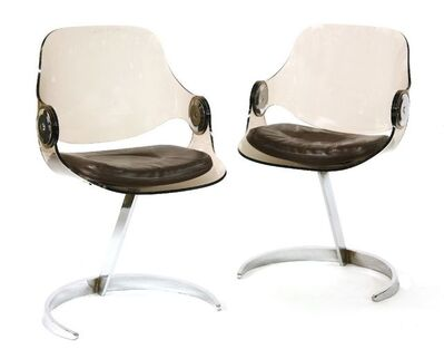 Boris Tabacoff, 'A pair of perspex and chrome chairs'