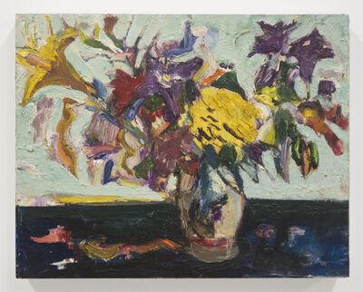 Bernard Chaet, 'Blue Table and Flowers', ca. 1990